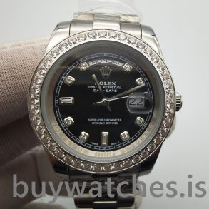 Rolex Day-Date 218349 Mens 41 mm svart med diamanter automatisk klocka